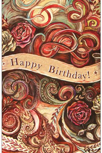 """Happy Birthday- roses"" card - thin paper"