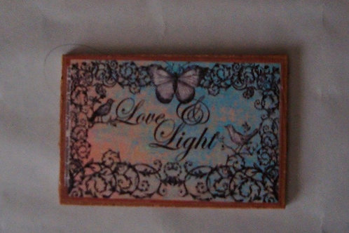 """Love & Light"" small wooden sign"