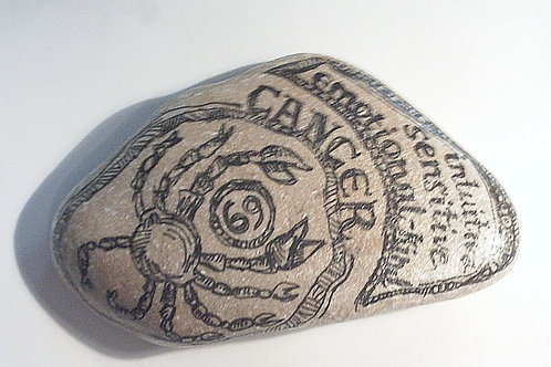 Cancer 2 - Hand painted Zodiac Stone