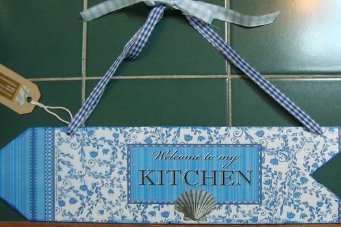 """""""This way to the kitchen"""" / blue wooden arrow, 2"""