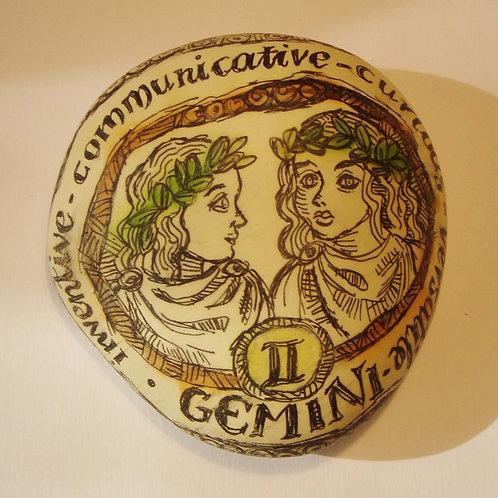 Gemini - Hand painted Zodiac Stone