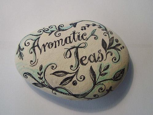 """Aromatic teas"", 2 hand painted stone"
