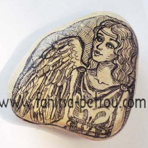 Angel-8, Hand painted stone