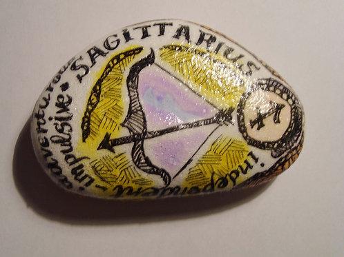 Sagittarius 3 - Hand painted Zodiac Stone