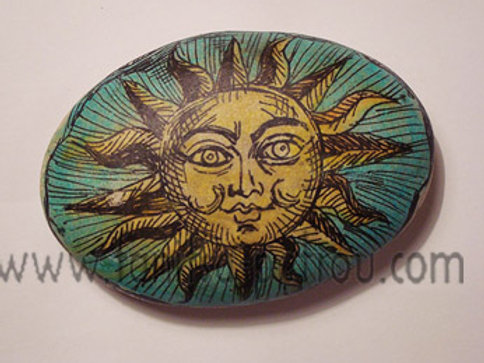 """Smiling Sun"",3 hand painted stone"