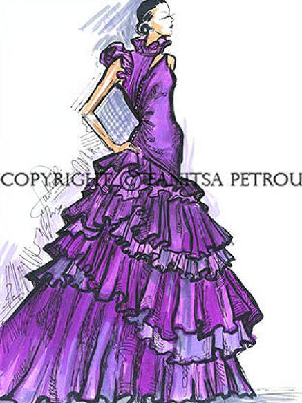 Fashion illustration - Purple evening dress