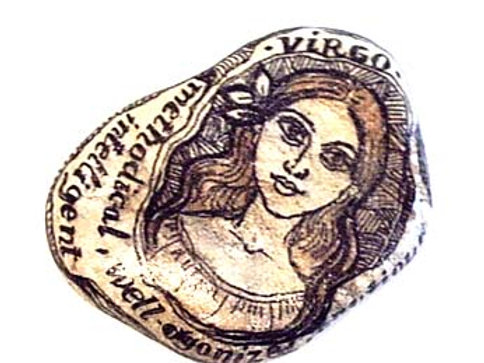 Virgo 2 - Hand painted Zodiac Stone