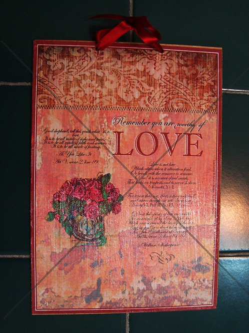 """""""Worthy of Love"""", wooden sign"""