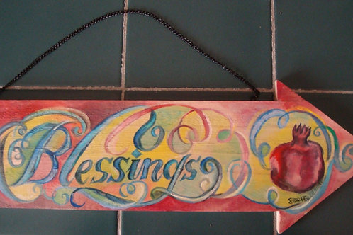 """Blessings"" wooden hand-painted arrow"