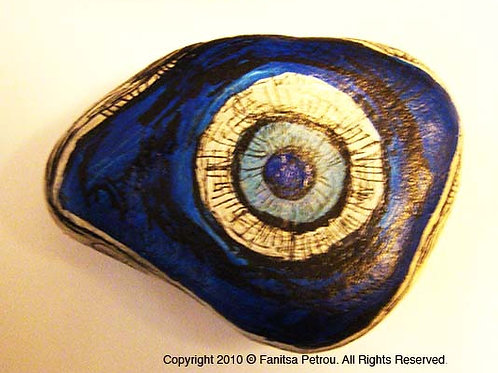 Blue Eye, 6 Hand painted stone