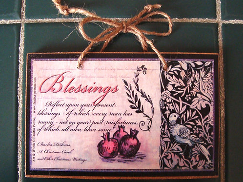 """""""Blessings"""", wooden sign"""