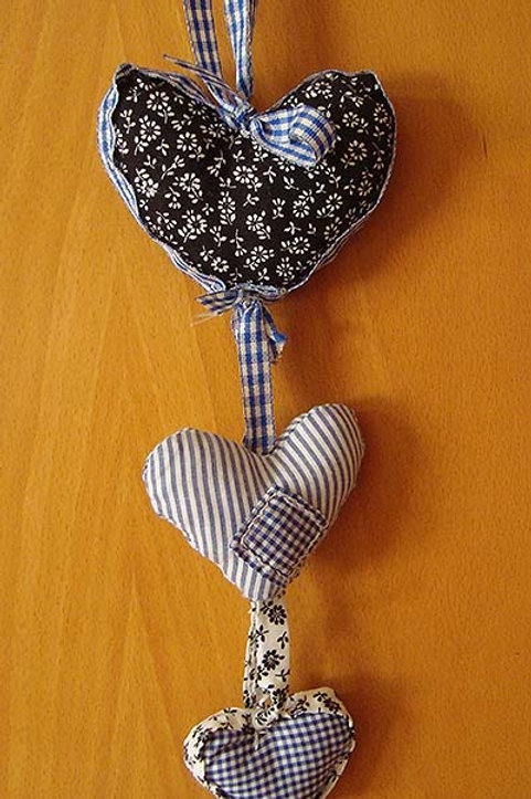 Blue & White fabric hearts