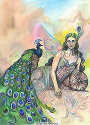 Fanitsa Petrou Art. Lady of the peacocks.  Mythology, goddess tradition. Fantasy art by Fanitsa Petrou. www.fanitsa-petrou.com