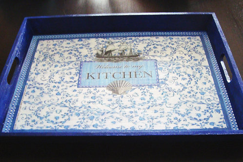 """Welcome to my Kitchen"" Tray, III - large"