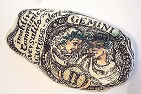 Gemini 2 - Hand painted Zodiac Stone