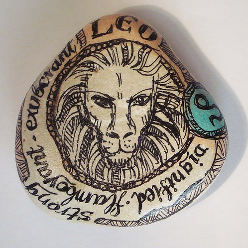 Leo 6 - Hand painted Zodiac Stone