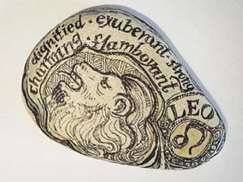 Leo 2 - Hand painted Zodiac Stone