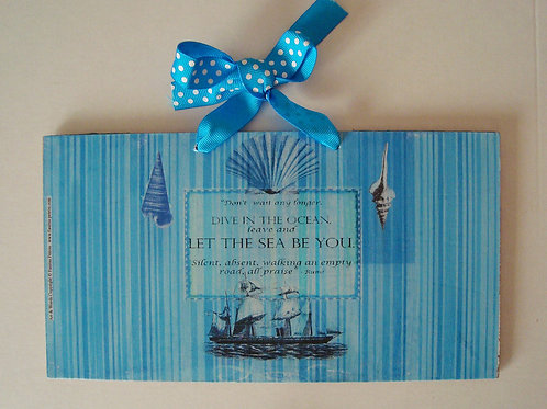 """The Sea, 6"" wooden sign"