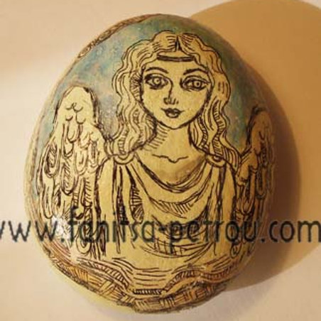 Angel-1, Hand painted stone