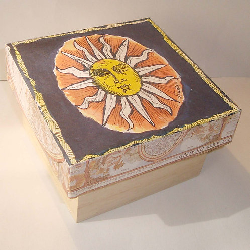 """Red sun"" wooden box"