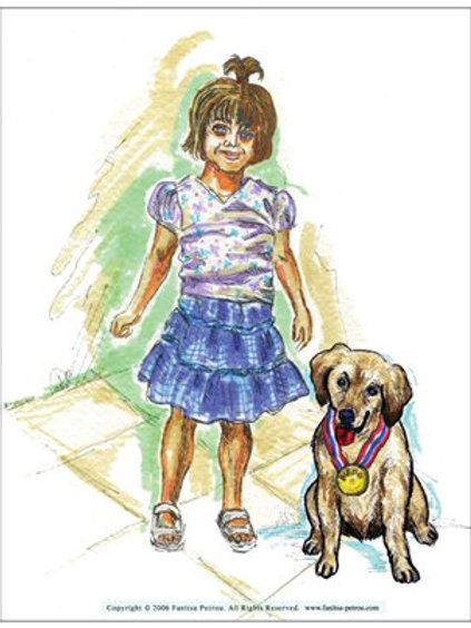 """""""Little girl with dog"""" card"""