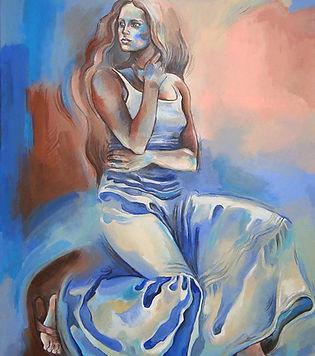 Fanitsa Petrou Art. Painting of a woman in a romantic skirt, buy Art online, big canvas, Realistic Art, realistic painting, Traditional art by Fanitsa Petrou. www.fanitsa-petrou.com