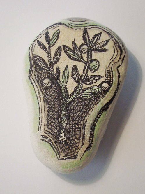 """""""Olive branch"""",  hand painted stone"""