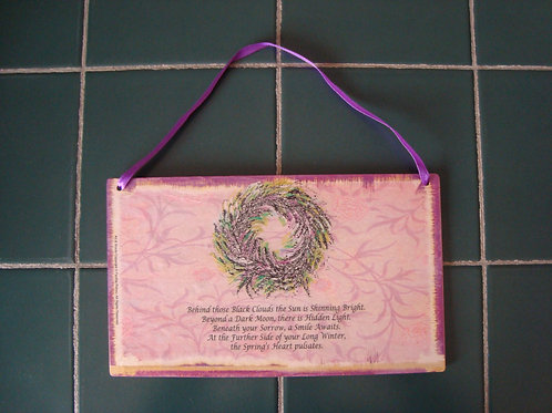 """Spring's heart"" wooden sign"