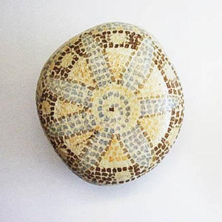 """Mosaic-like"" hand painted stone -3"
