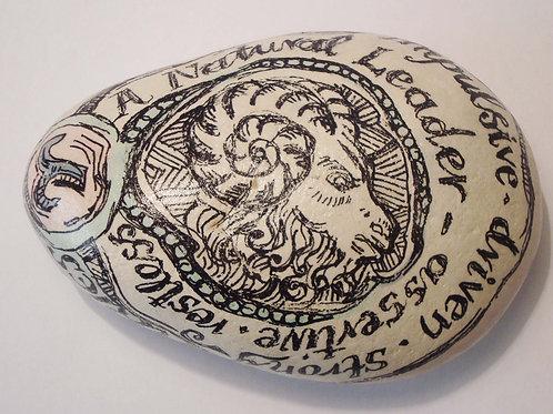 """""""Aries"""" 1- Hand painted Zodiac Stone"""