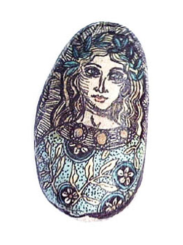 """""""Spring Maiden"""" 2 hand painted stone"""