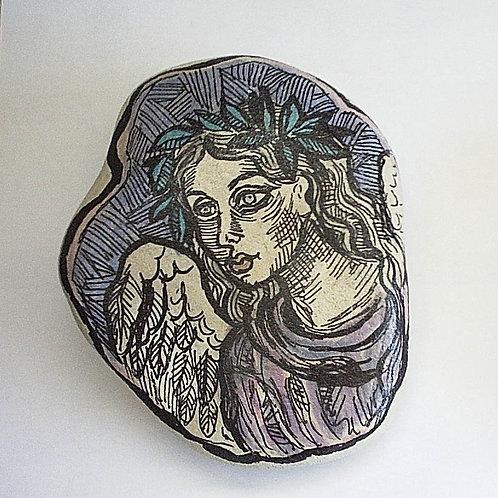 Angel-5, Hand painted stone