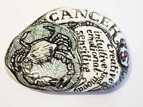 Cancer 3 - Hand painted Zodiac Stone