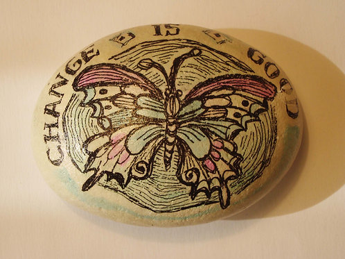 Butterfly hand painted stone, 1