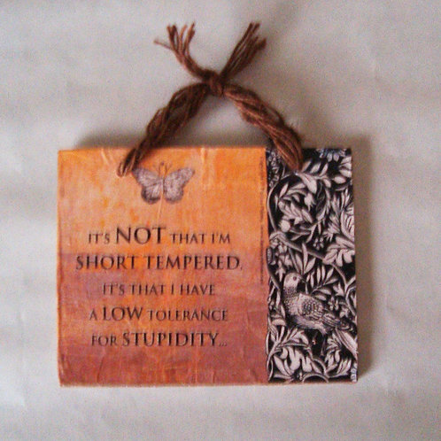 """Stupidity"" wooden sign"