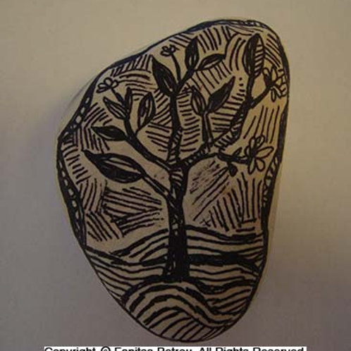 """""""Little plant"""",  hand painted stone"""