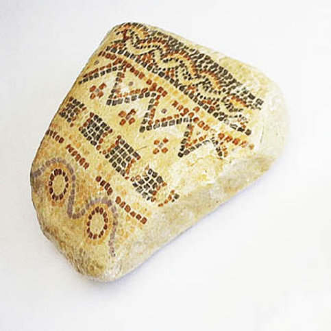 """Mosaic-like"" hand painted stone -1"
