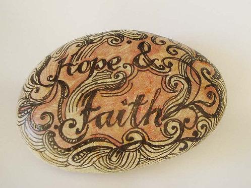 """""""Hope & Faith"""", hand painted stone"""