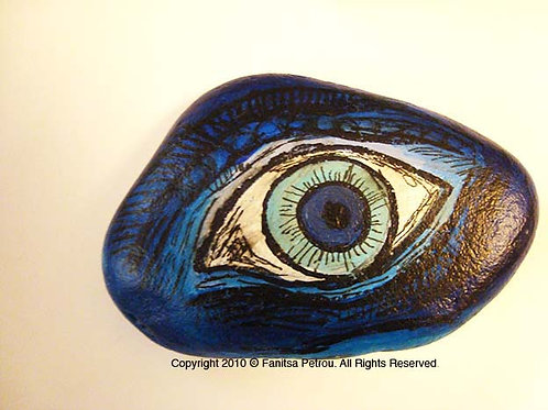 Blue Eye, 2 Hand painted stone