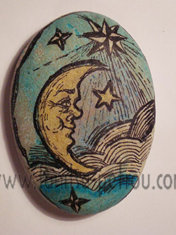 """Blue Moon"", 3 hand painted stone"