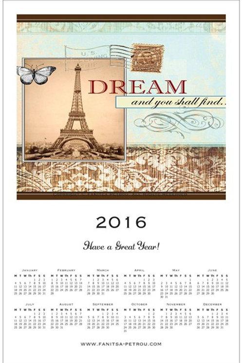 Dream Magnet Calendar, 2016