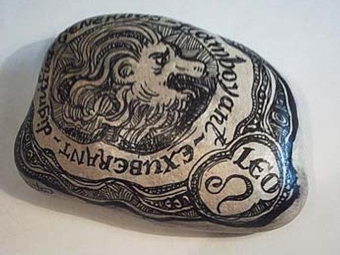 Leo 7 - Hand painted Zodiac Stone