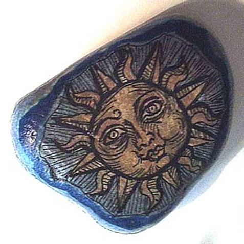 """Smiling Sun"",4 hand painted stone"