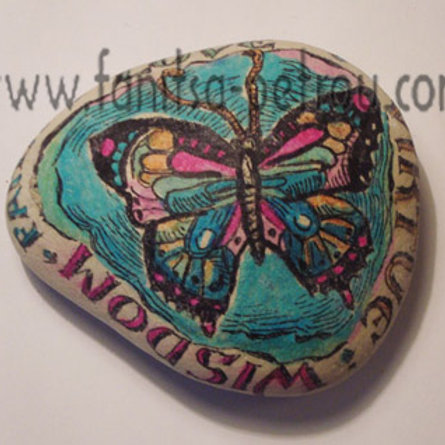 Butterfly hand painted stone, 2