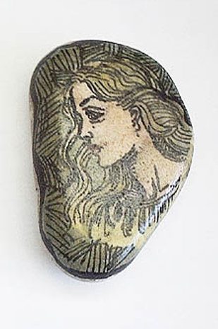 """Maiden"" hand painted stone"