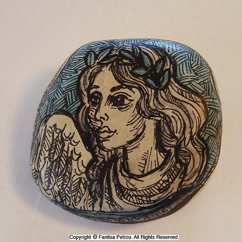 Angel Hand painted stone -12