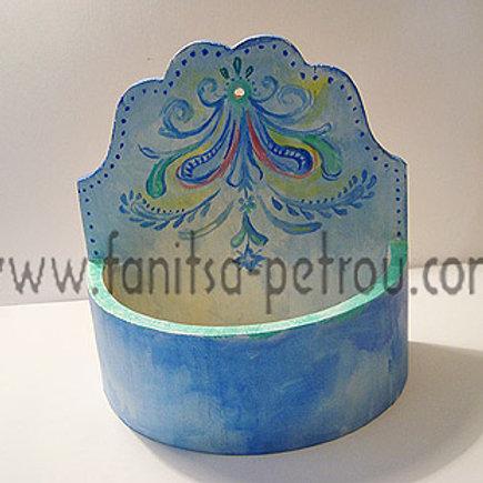Blue & Green, hand painted, wooden flower pot