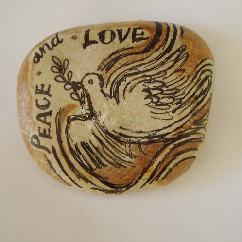 """""""Peace & Love"""" - hand painted stone"""