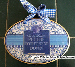 Fanitsa Petrou Art, Blue & White, wooden sign, Blue and white motifs, Put the toilet seat down, home decor, bathroom decor, home accessories, buy online, illustration by fanitsa petrou, www.fanitsa-petrou.com
