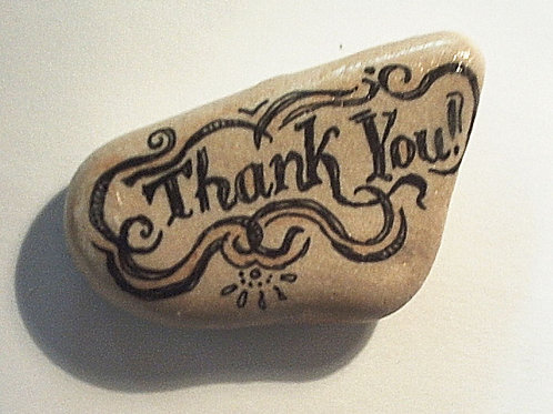 """Thank you"" hand painted stone"
